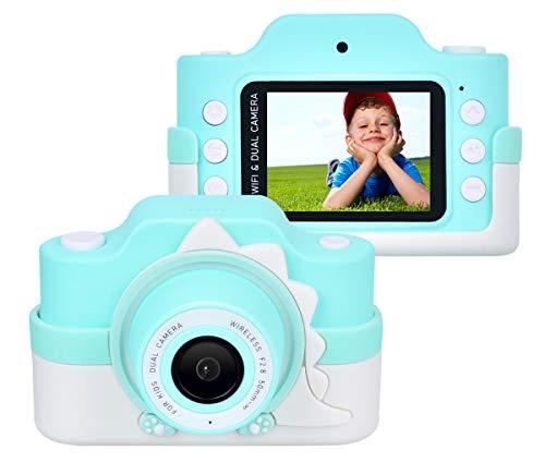 Upgrow WiFi Digitalkamera für Kinder, HD Kinderkamera mit Cartoon Schutz-Tasche, 2,0 Zoll Farbdisplay 24 Megapixel Dual Kameras, Camcorder mit Aufklebern für Mädchen Jungen (Blau mit Schutztasche)