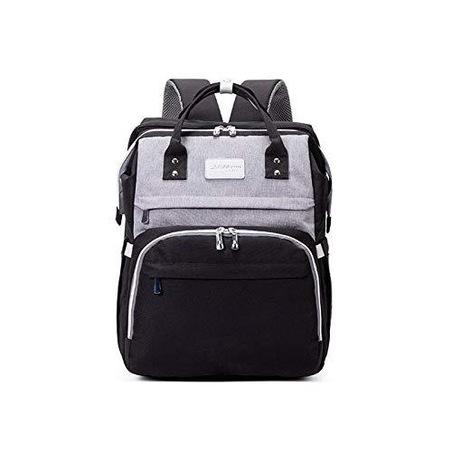 Rfgfd - Mochila plegable para bebé, portátil, bolsa de cambio, impermeable, para pañales de bebé, mochila de gran capacidad, para viajes, con puerto USB y mosquitera de protección solar (color negro)