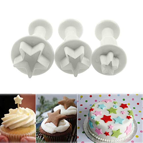 PYCONG 3PCS Baking Cookie Moulds Flip Sugar Star Heart Snowflake Butterfly Square Cutter Cake Decorating Tools (Color : Star)