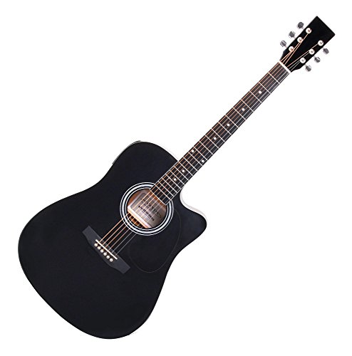Classic Cantabile WS-10BK-CE Westerngitarre mit Tonabnehmer (Akustik und verstärkt, Dreadnought, Cutaway, 3-Band EQ + Presence, Stimmgerät Tuner mit LCD, XLR und Klinke) schwarz Hochglanz
