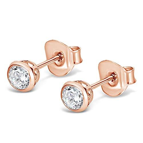Isabella Silver - splendidi orecchini con perno, 4 mm, in argento sterling e con zirconie cubiche, Argento placcato oro rosa 18 ct, colore: White, cod. 3