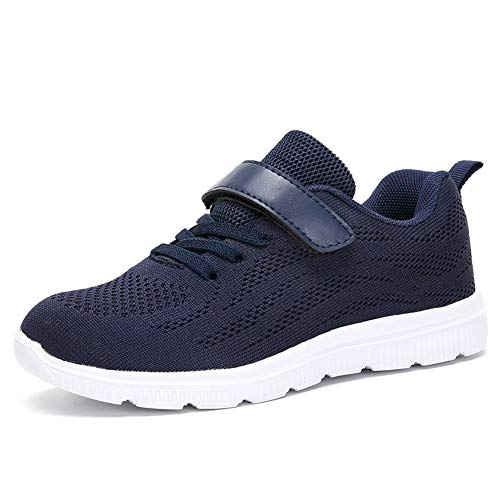 Ork Tree Kinder Sneaker Schuhe Turnschuhe Mädchen Hallenschuhe Jungen Sportschuhe Klettverschluss Kinderschuhe Laufschuhe,Blau,37 EU