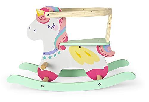 leomark Unicorno Cavallo a Dondolo in Legno - Rose - Cavalcabile Animale per Bambini con Schienale, Multicolor, Moderno Giocattoli, Altezza: 46 cm