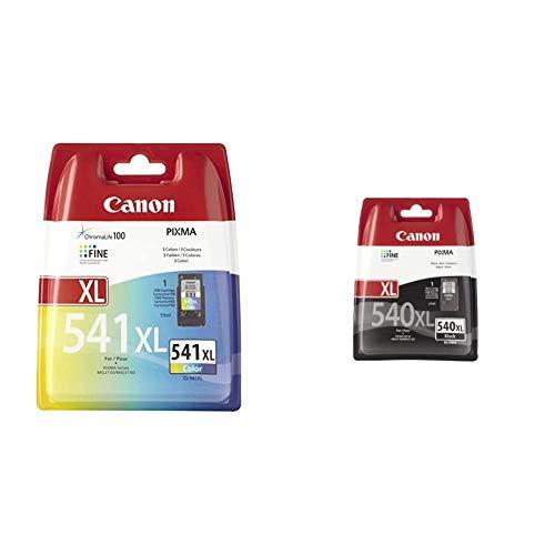 Canon CL-541 XL - Cartucho de Tinta para Impresoras + PG-540XL Cartucho de Tinta Original Negro XL para Impresora de Inyeccion de Tinta Pixma, Negro