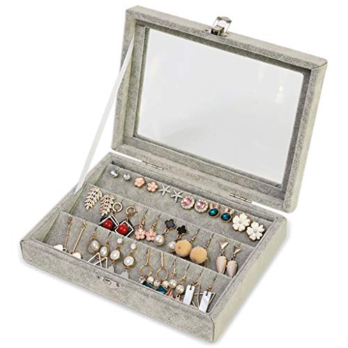Joyero Caja de Almacenamiento de joyería de Moda Polvo Simple Caja de joyería Transparente Pendientes Pulsera Collar Reloj Caja de Almacenamiento Almacenamiento de Joyas