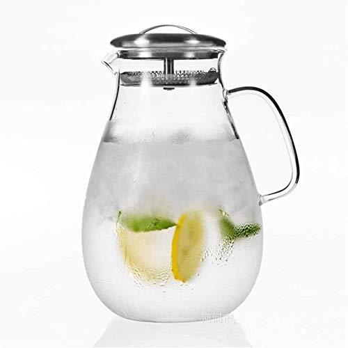 YONGYONGCHONG Teiera in vetro da 2,0 l/l, bollitore per acqua resistente al calore, teiera per fiori, grande capacità, bottiglia di acqua fredda, anti-perdite laterali con coperchio