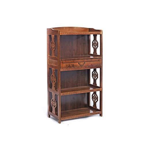 KELE Retro Librería, Madera sólida Creativo Pie de Chino Antiguo Librería Simple Sala Gabinetes de Almacenamiento Bamboo Estantería-F 70X29X113cm