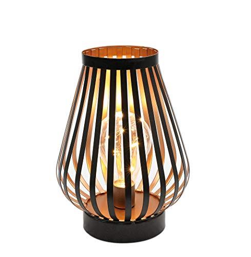 JHY DESIGN 22cm hoch Metallkäfig LED Tischlampe Batteriebetriebene schnurlose Nachttischlampe mit Edison-Glühbirne für Schlafzimmer Home Hochzeiten Partys Indoor Outdoor (Bronze, Eiform)