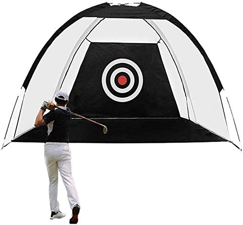 Sibosen Golf Practice Hitting Net with Target, 10 FT Golf Chipping Net Indoor Outdoor Golfing Target Net for Home Backyard Driving Range Swing Chipping (Black-10FT)