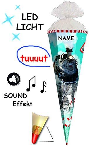 alles-meine.de GmbH Sound Modul & LED Licht Effekt _ ! - Schultüte -  Lokomotive - Eisenbahn  - 85 cm / 6 eckig - incl. Namen - Organza Abschluß - Zuckertüte Roth - mit Holzspi..