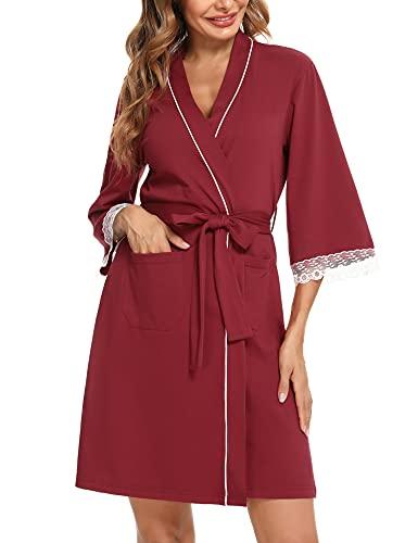 Aibrou Bata Mujer Algodon Albornoz Bata De Verano Mujer Bata de Casa Corta Albornoz Ducha Bata de Algodon Kimono Baño Ropa De Dormir