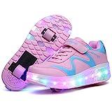 Unisex Bambini e Ragazze Scarpe da LED Luce Scarpe con Singolo Doppia Ruota Skateboard USB...