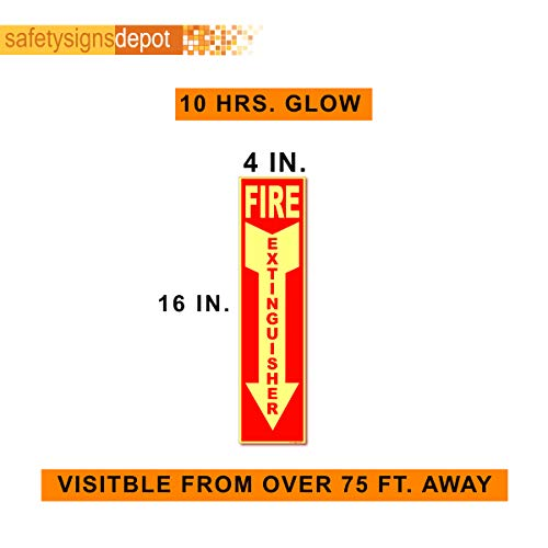 Fire Extinguisher Sign Decal Glow in the Dark︱4 in. x 12 in. Premium Vinyl Photoluminescent Stickers (5)