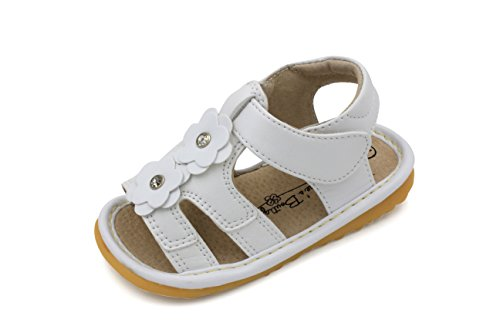 Squeaky Shoes |White Two Flower Toddler Girl Sandals | Premium Quality (Removable Squeakers) (4)