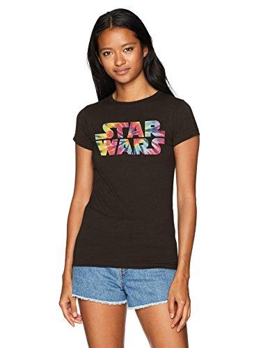 Star Wars Women's Rainbow Logo Tie Dye Crew Neck Graphic T-Shirt, Black, L