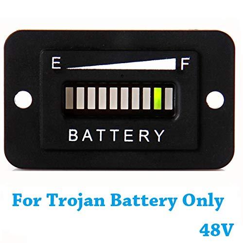 SEARON 48V Trojan Battery Indicator Meter LED Display Golf cart Battery Guage for EZGO Club Car Yamaha Golf Cart (Trojan Batteries Only)