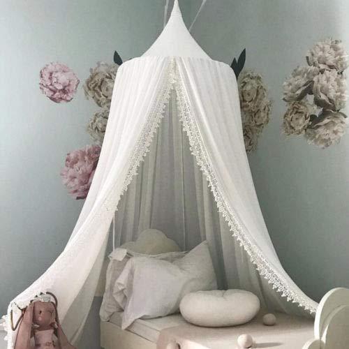 jsadfojas Moskitonetz Baby Baldachin Betthimmel Kinder Bett Hängende Moskiton für Reise und Zuhause Zeit Höhe 240 cm(White, OneSize)