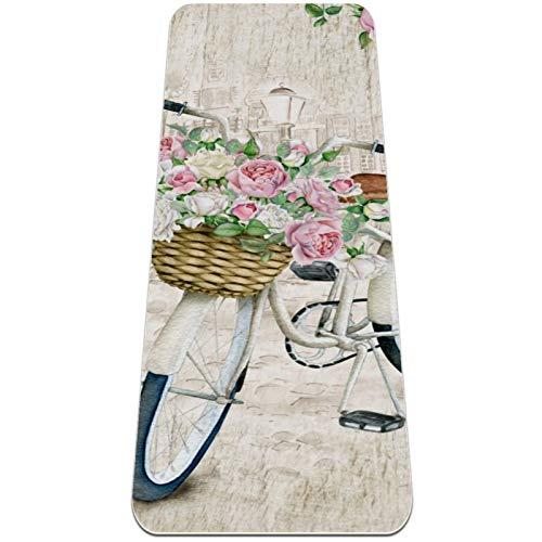 Esterilla Yoga Mat Antideslizante Profesional - Flores de bicicleta de acuarela - Colchoneta Gruesa para Deportes - Gimnasia Pilates Fitness - Ecológica