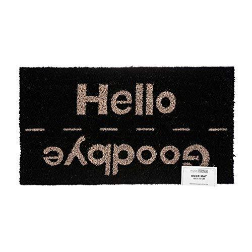 Homescapes Wende Schmutzfangmatte Fußmatte Hello / Goodbye 45 x 75 cm (Breite x Länge) Türmatte aus 100% Kokosfaser mit rutschfestem Gummirücken strapazierfähiger Fußabtreter