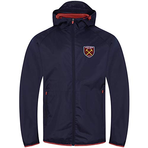 West Ham United FC Gift Mens Shower Jacket Windbreaker Peaked Hood Navy XL