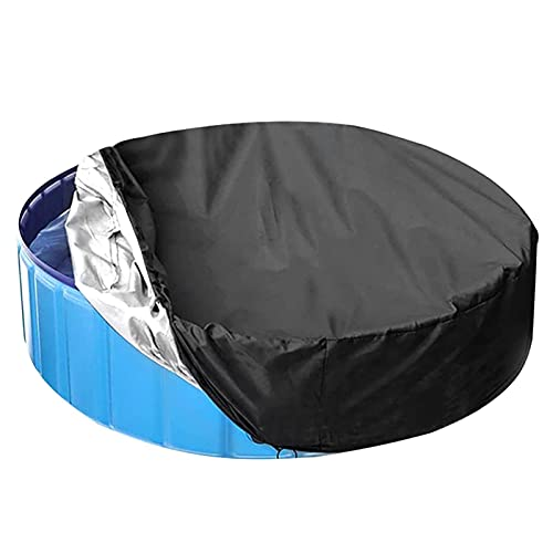 Glum Swimming Pool Cover, Round Waterproof Kids Bathtub Pool Cover, Foldable Pet Pool Cover with Elastic Drawstring, Above Ground Swimming Pool Protect Cover (63 inch)