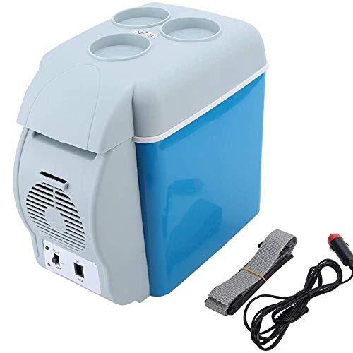 Dongbin Mini Frigo Cooler, 7.5L 12V 30W Portatile Frigo Freddo e Caldo Auto Frigorifero con la Finestra per Il Viaggio e Campeggio,Blu