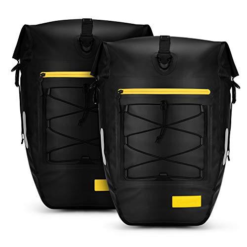 Gonex 25L Fahrradtasche Gepäckträgertasche wasserdichte Tasche Fahrrad Zubehör groß für Radfahren Rücksitz Reisen Camping,Schwarz 2 Stück