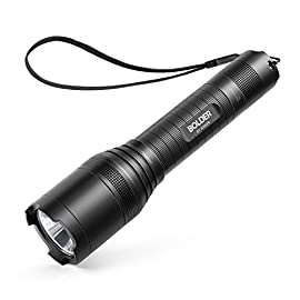 Anker Rechargeable Bolder LC90 LED Flashlight, Pocket-Sized Torch with Super Bright 900 Lumens CREE LED, IPX5 Water-Resistant, Zoomable, 5 Light Modes, 18650 Battery Included 1 SUPER-BRIGHT: 900-lumen (max) Cree LED sweeps bright light over the length of about two football fields (660 ft / 200 m) and reaches nearly 1000 ft. Fully zoomable from wide to narrow beam. Features 5 adaptable settings: High / Medium / Low / Strobe / SOS. LONG-LASTING: Up to 6 hours (Medium-beam mode) of powerful, non-diminishing brightness from the included premium rechargeable 3350mAh battery. LEDs boast an extended 50000-hour lifespan. Recharge in just 6 hours with a 1A adapter (not included) and the included Micro USB cable. TOUGH & RELIABLE: IPX5-rated water resistant and designed for use in heavy rain. Its durable aluminum body and shock-resistance endure rough handling.