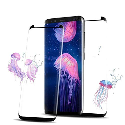 [2 Pack] Samsung Galaxy S8 Screen Protector,3D Curved Tempered [Anti-Bubble][9H Hardness][HD Clear][Anti-Scratch][Case Friendly] Glass Screen Film Compatible Samsung Galaxy S8 Black