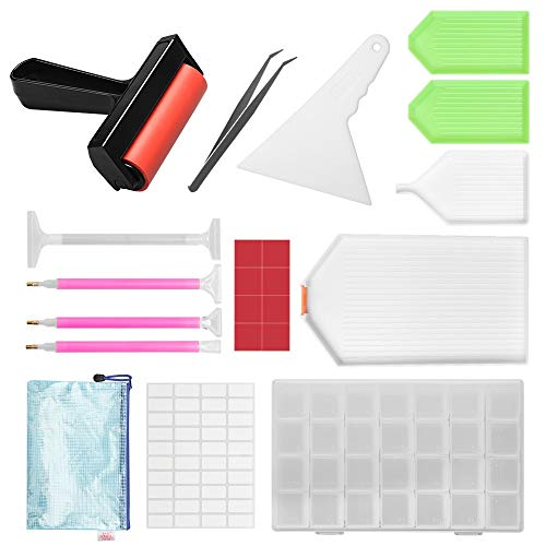 Complete 5D Diamond Painting Kit Tool, Tomorotec Diamond Painting Accessories, Light Drill Pens, Fix Tools Aligning Repair, Painting Roller, Storage Box, Plastic Tray Kits for DIY Craft