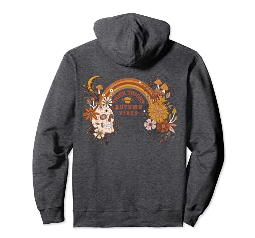 Boho Skull Halloween Witchy Spooky Thick Thighs Autumn Vibes Pullover Hoodie