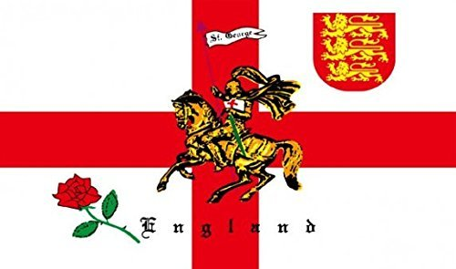 English Rose Lion Flag 3ft x 2ft Medium - 100% Polyester - Metal Eyelets - Double Stitched by Perfectflags