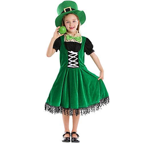 NIMIFOOL Disfraces para niños Material de poliéster niña Traje de Enano irlandés Familia de Padres e Hijos Adecuado para la Fiesta Escolar del día de San Patricio Cosplay,XS