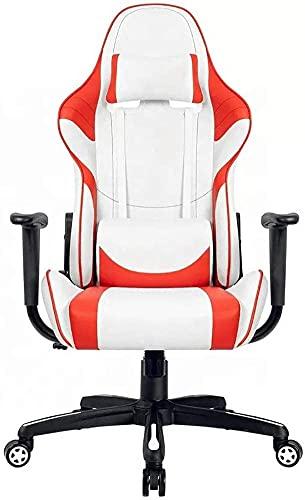 HDZW Silla de Juego ergonómica para Silla de Juego de computadora con Masaje Inferior Estilo Sillón Sillón Sillas de Cuero E-Sports Gamer Pink W71 * D66 * H126-136CM