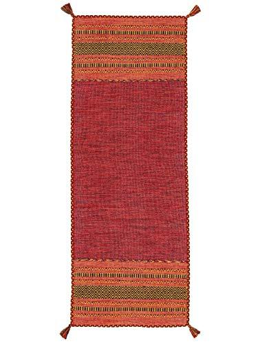 CarpetFine Tappeto a Tessitura Kilim Azizi passatoia Rosso 80x300 cm   Tappeto Moderno per Soggiorno e Camera da Letto