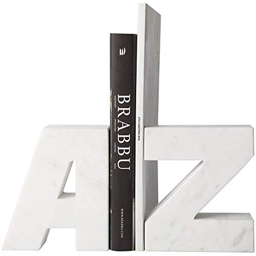 LIANGANAN Decorative Bookend Heavy Marble Table Book Clip Arts Stationery Design Decorative Bookends One Pair Heavy Bookend (Color : White, Size : Free Size) Bookends