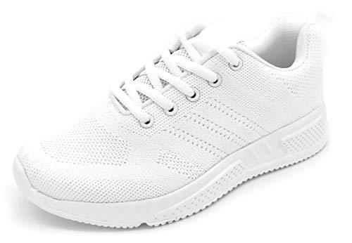Sportschuhe für Damen, atmungsaktiv, leicht, Mesh, zum Laufen, Wandern, Arbeiten, Weiß - Weiß glatt - Größe: 43 EU
