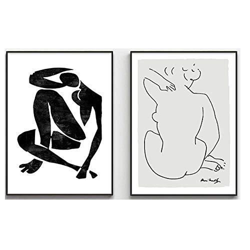 DMPro Minimalismo Bosquejo Colección Matisse Y Picasso Vintage Vogue Poster Impresiones Lienzo Pinturas Arte Pared Cuadros Hotel Inicio Decoracion 50x75cmx2 / Sin Marco