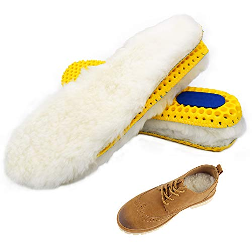 Bacophy Sheepskin Sport Insoles for Men & Women, Premium Warm Fluffy Wool Replacement Cozy Breathable Inner Soles for Boots Casual Shoes Sneakers