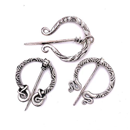 Vintage 3PCS Viking Brooches Pins Medieval Cloak Shawl Scarf Pin Clasp Celtic Jewelry for Women Silver Tone