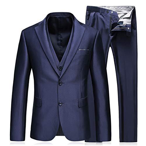 Rindasr blauw pak mannen zakelijke vrije tijd formele jurk avond jurk 3-delig 2 knoop revers blazer jas broek vest