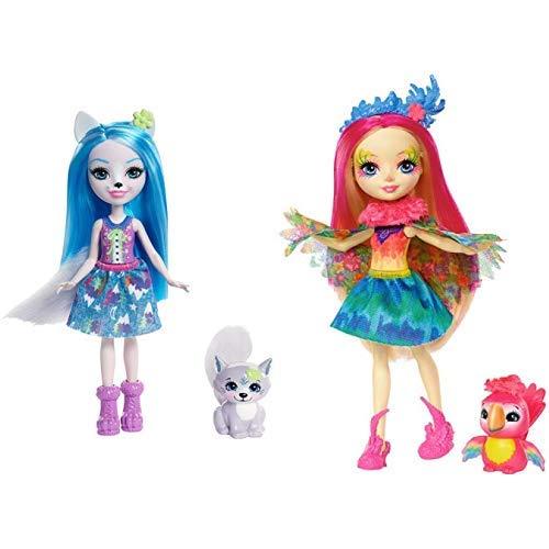 Enchantimals FRH40 - Wolfsmädchen Winsley Wolf Puppe & Mattel Games FJJ21 Enchantimals Papageienmädchen Peeki Parrot Puppe