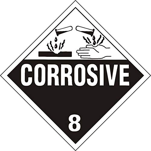 Labelbay Hazard Class 8 Corrossive Hazmat Adhesive Labels, Placard, Worded, Black and White 10.75'x10.75' Inch Square 25 Adhesive Labels