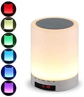 Night Light Bluetooth Speaker, Tranesca Portable Wireless Bluetooth Speaker with 7 Color LED Light, Warm Night Light and Alarm