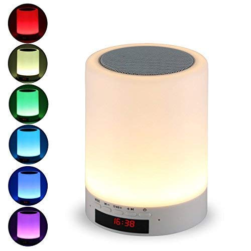 Bluetooth Speaker with Lights, Tranesca Portable Wireless Night Light Bluetooth Speaker with 7 Color LED and Smart Touch Control,handsfree/Phone/MicroSD/TF Card Supported