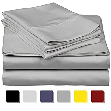 Thread Spread True Luxury 100% Egyptian Cotton - Genuine 1000 Thread Count 4 Piece Sheet Set- Color Silver,Size King - Fits Mattress Upto 18'' Deep Pocket