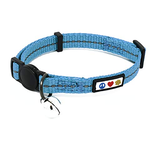 Reflective Quick Release Recycled Stitched Cat Collar With Removable Bell