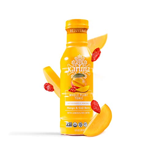 Rejuvenate Whole Plant Prebiotic and Antioxidant Drink with Goji Berries, Lemon Mix with Mango Fruit Juice, Ancient Remedy for Beautiful Skin, Hair and Eyesight, 6 bottles, 12 fl oz - Karuna