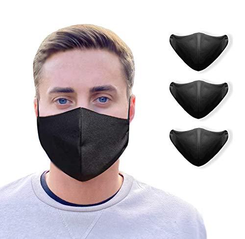 NIMBIM Behelfsmaske, Maske mit antibakterielle Silberfasern, waschbare Damen & Herrenmaske, atmungsaktiv, Maske in schwarz, 3er Set