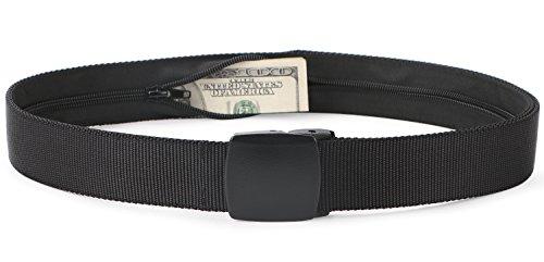 SUOSDEY Travel Money Belt, Black Nylon Hidden Money Pocket Belt Non Metal Buckle